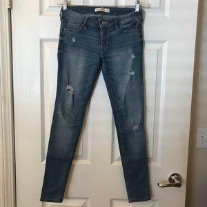 Hollister Super Skinny Light Wash Distressed Jeans